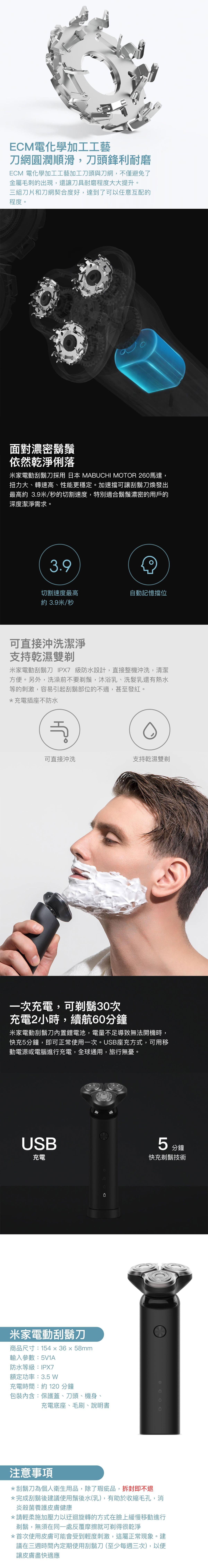 快充剃鬍技術,只要充電5分鐘即可剃一次